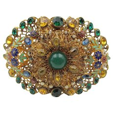 1930s Bliss Bros. Attleboro Filigree Enamel Rhinestone Brooch
