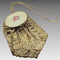 Vintage Guilloche Enamel Rose Mesh Compact Wristlet Handbag