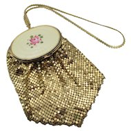 Vintage Guilloché Enamel Rose Mesh Compact Wristlet Handbag