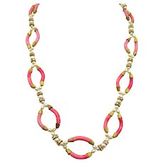 Vintage 1930s Art Deco Murano Glass Curved Beaded Necklace
