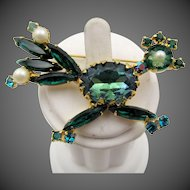 Vintage DeLizza & Elster Juliana Green and Faux Pearl Roadrunner Brooch - Book Piece