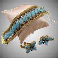 Vintage Signed Hobe' Turquoise and Purple Rhinestone Mesh Bracelet and Earring Set