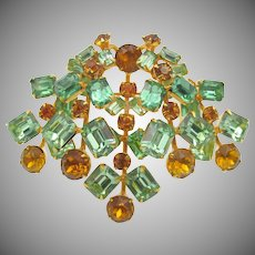Vintage Weissco 1940s Peridot and Citrine Rhinestone Brooch