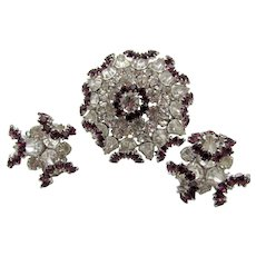 Vintage Crystal and Purple Dimensional Brooch and Earring Set