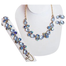 Vintage Schiaparelli Blue Rhinestone Necklace, Bracelet and Earring Parure