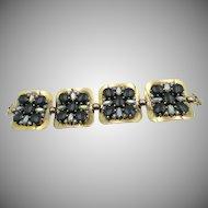 Vintage Signed Schiaparelli Square Disc Green Polished Rhinestone Bracelet