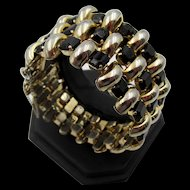 Vintage Hattie Carnegie Black Rhinestone Woven Wide Bracelet