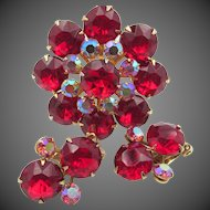 Vintage Red and Pink AB Rhinestone Brooch and Earring Set