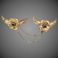 Vintage Floral Cabochon Brass Sweater Guard Brooch