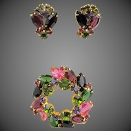 Vintage DeLizza & Elster Juliana Multi-Colored Navette Tiered Brooch and Earring Set