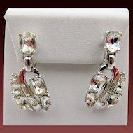 Vintage Crown Trifari Crystal Rhinestone Drop Earrings
