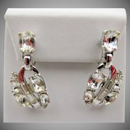 Vintage Crown Trifari Crystal Rhinestone Drop Earrings