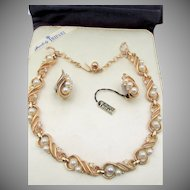 Vintage Crown Trifari Faux Pearl and Rhinestone Necklace and Earring Set in Original Presentation