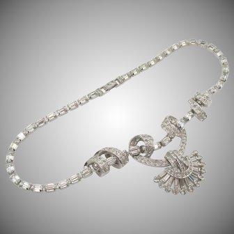 Vintage Signed Ledo Crystal Rhinestone Necklace