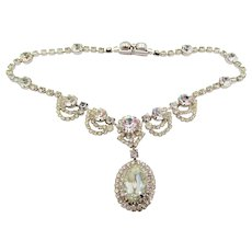 Vintage Kramer of New York Crystal Rhinestone Drop Necklace