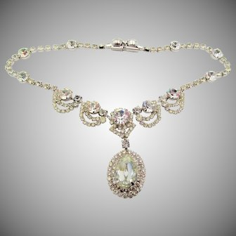 Vintage Kramer of New York Crystal Rhinestone Drop Necklace