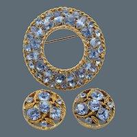 Vintage Regency Blue Rhinestone Brooch/Pin Earring Set