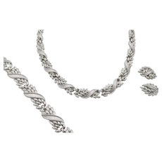 Vintage Crown Trifari Brushed Silver Tone Necklace, Bracelet and Earring Parure