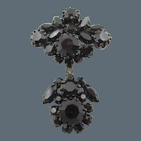 Vintage Austrian Black Glass Dangling Brooch/Pin
