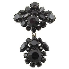 Vintage Austrian Black Glass Dangling Brooch/Pin