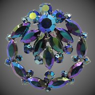 Vintage Peacock Blue Mirrored Rhinestone Brooch/Pin