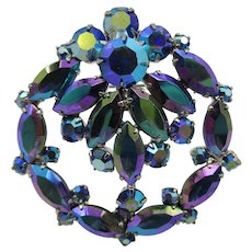 Vintage Peacock Blue Mirrored Rhinestone Brooch/Pin