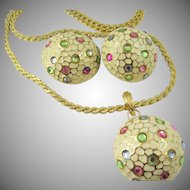 Vintage Pierre Balmain Paris Pastel Rhinestone and Enamel Necklace and Matching Earrings
