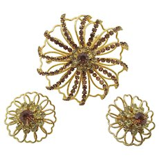 Vintage Hattie Carnegie Amber and Yellow Rhinestone Brooch/Pin and Earring Set