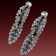 Vintage Crystal and Blue Rhinestone Drop Clip Earrings - Unusual Design