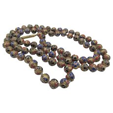 Vintage Brass Champleve Cloisonne Bead Necklace - 28 inches
