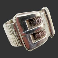 Vintage English Sterling Silver Buckle Ring - US Size 8