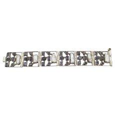 Vintage Sterling Blue Iolite and Baroque Pearl Link Bracelet