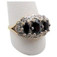 Vintage English 9ct Gold Sapphire and Diamond Ring - U.S. Size 6.5