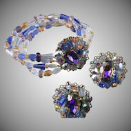 Esq. Capade by Joni Blue Vitrail Rhinestone Bracelet and Earrings
