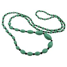 """Vintage Art Deco Czech Green and Black Molded Glass Bead Necklace - 35"""""""