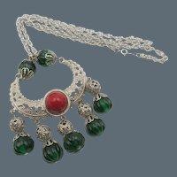 Kenneth Jay Lane K.J.L. Egyptian Revival Style Filigree Necklace
