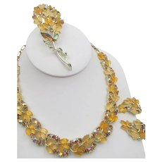 Vintage Lisner Two Tone Yellow Leaf and Rhinestone Necklace, Brooch and Earring Parure