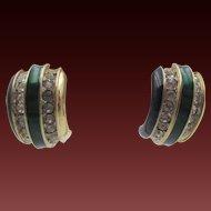 Donald Stannard Half Hoop Enamel and Rhinestone Earrings