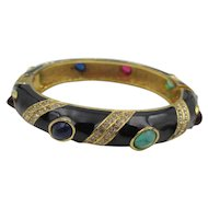Vintage Ciner Jewels of India Faux Ruby, Emerald, Sapphire Cabochon Hinged Bangle