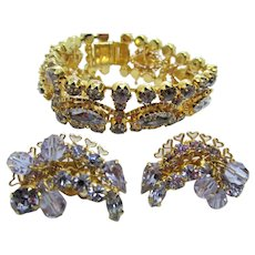 Vintage Kramer of New York Alexandrite Rhinestone Bracelet and Earrings