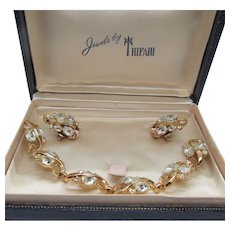 Crown Trifari Alfred Phillipe Rhinestone Bracelet and Earrings in Orig Box 1950s