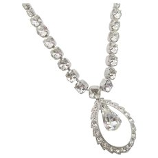 Eisenberg Crystal Tear Drop Necklace in Original Box