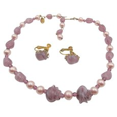 Miriam Haskell Purple Art Glass and Faux  Pearl Necklace and Earrings