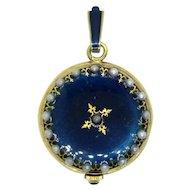 Kelbert Swiss Blue Enamel and Faux Pearl Winding Watch Pendant - Works!