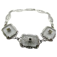 Art Deco Filigree Bracelet with Triple Camphor Glass