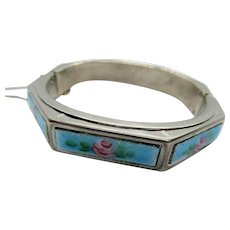 Vintage Blue Guilloche Enamel Painted Rose Hinged Bangle Bracelet