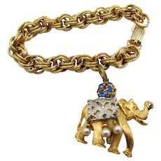 Napier 1970 Jeweled Elephant Charm Bracelet