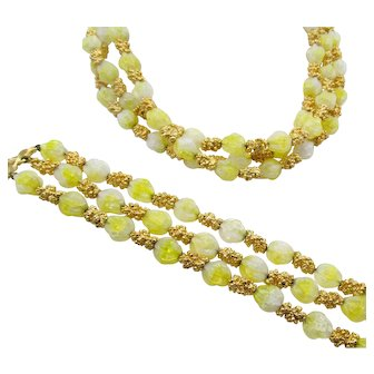 1950s Trifari Yellow Art Glass Beads with Gold Tone Nugget Necklace and Bracelet