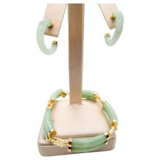 14K  Green Jade Double Tubed Bracelet and Hoop Earrings