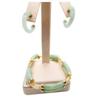 14K  Green Jade Double Tubed Bracelet and Hoop Earrings